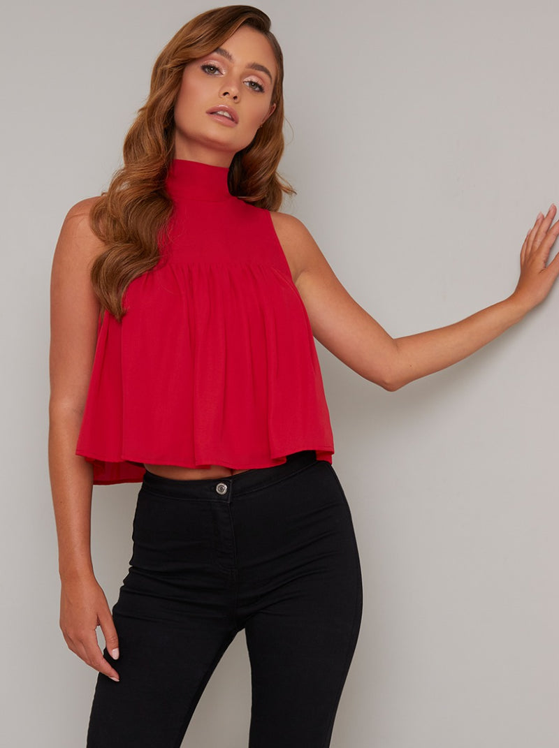 High Neck Tiered Crop Top in Red
