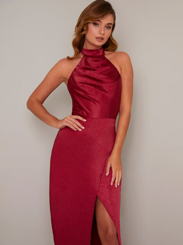 Satin Finish Halterneck Maxi Dress In Burgundy