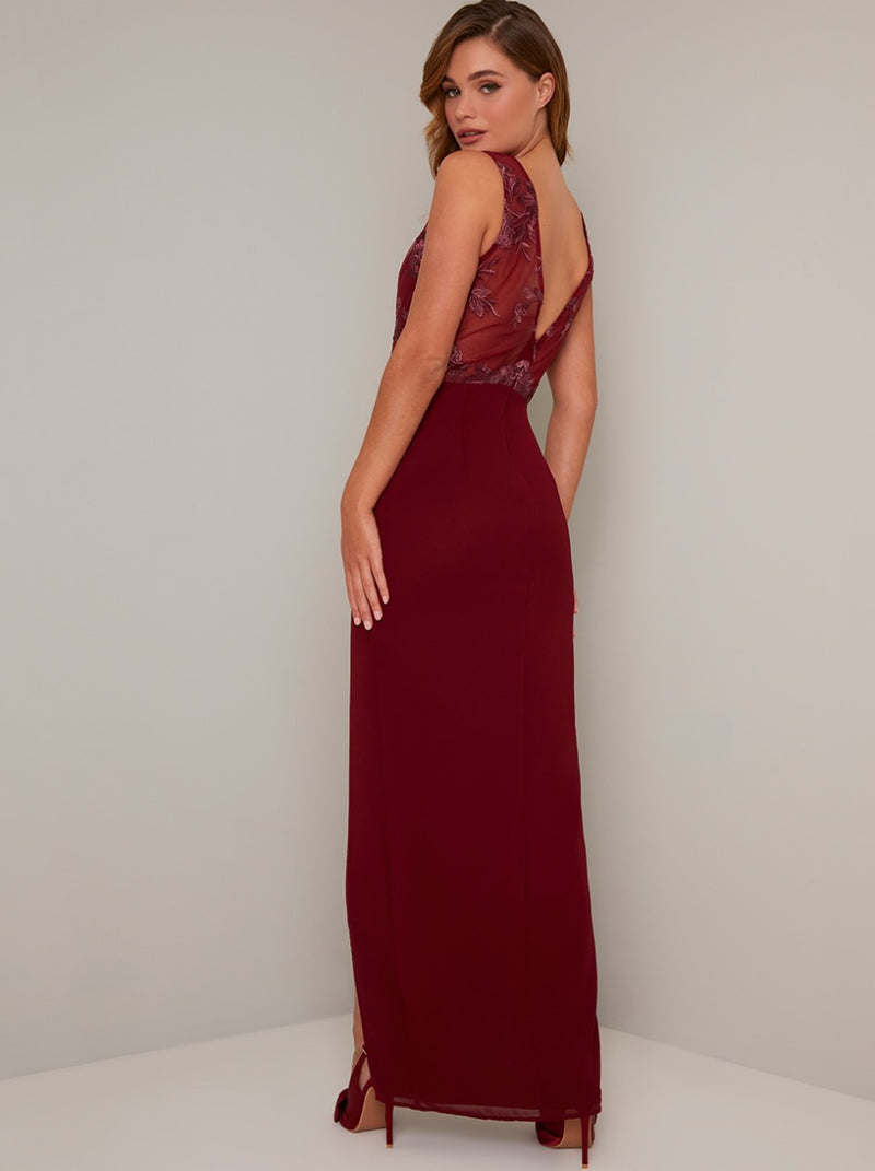 Lace Bodice Maxi Dress In Burgundy
