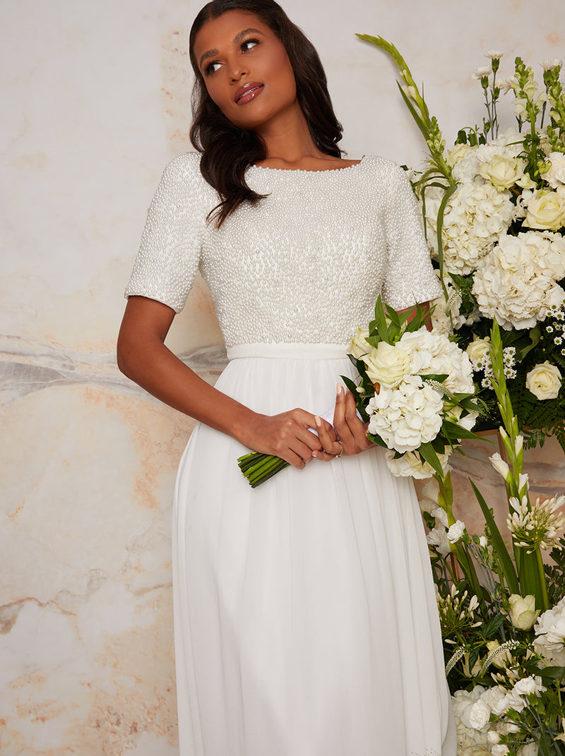 Bridal Short Sleeve Embellished Wedding Dress in White