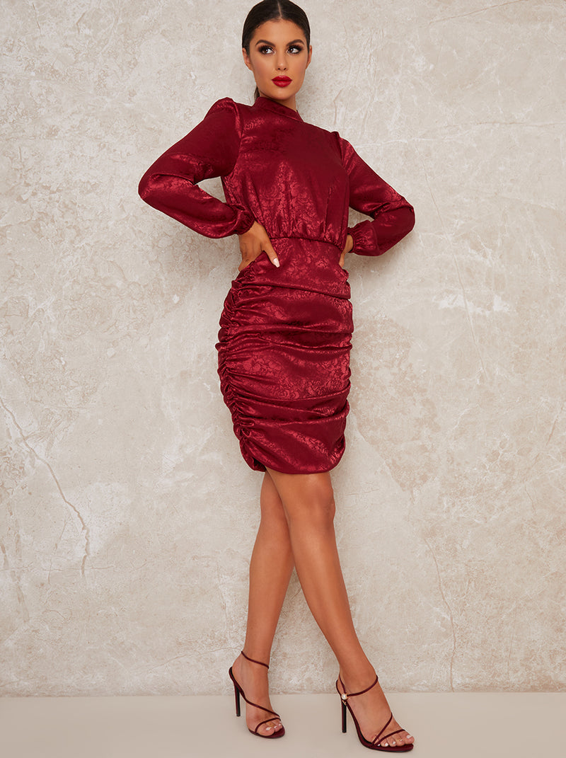 High Neck Ruched Long Sleeve Mini Party Dress in Red