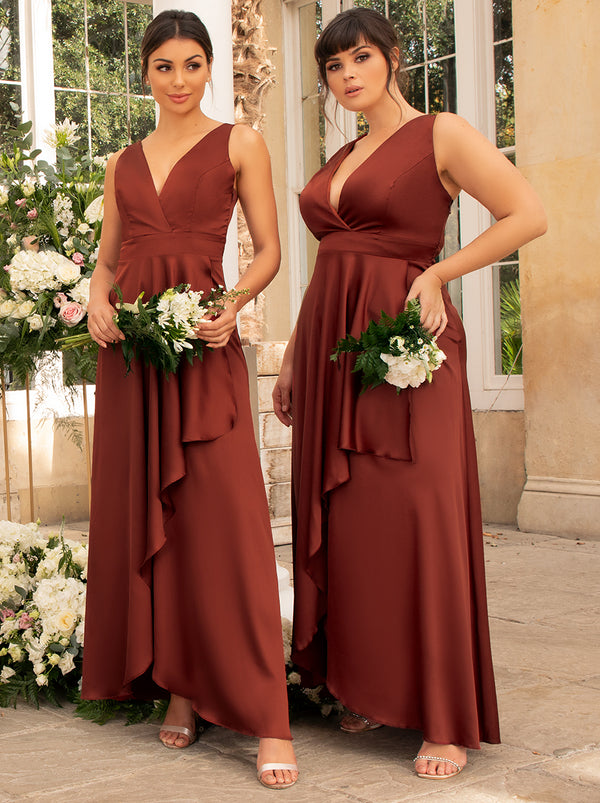 Plus Size Satin Wrap Bridesmaids Maxi Dress in Orange