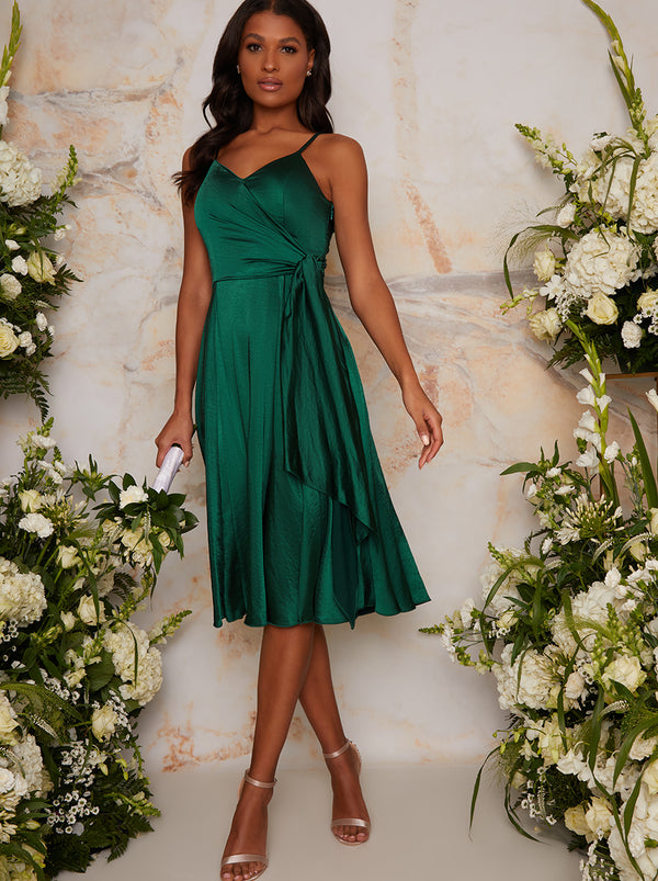 Satin Cami Strap Wrap Midi Bridesmaid Dress in Green