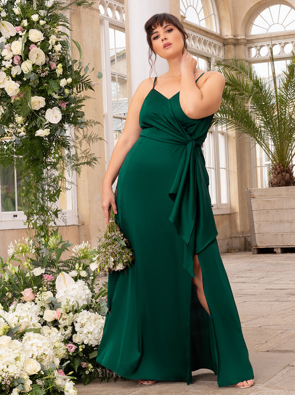 Plus Size Satin Finish Drape Maxi Dress In Green