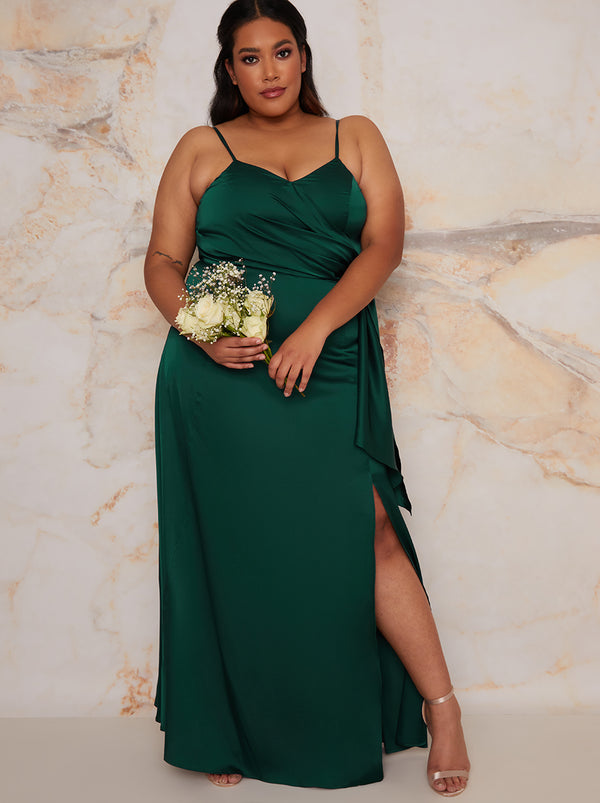 Plus Size Cami Ruffle Maxi Bridesmaid Dress in Green