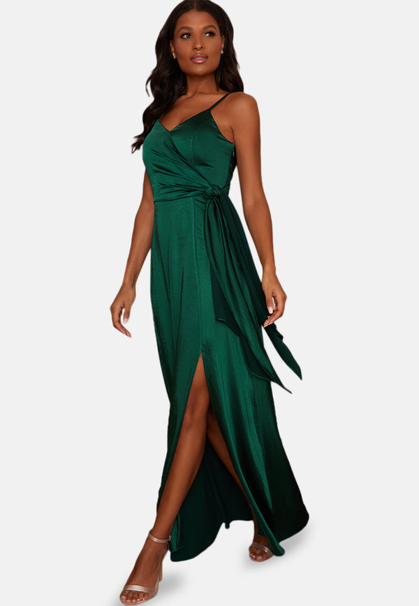 Satin Cami Strap Wrap Bridesmaids Maxi Dress in Green