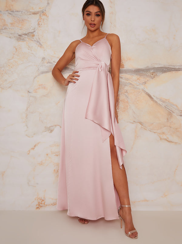 Satin Finish Drape Maxi Dress In Mink
