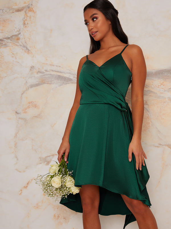 Petite Satin Cami Bridesmaid Dip Hem Midi Dress in Green