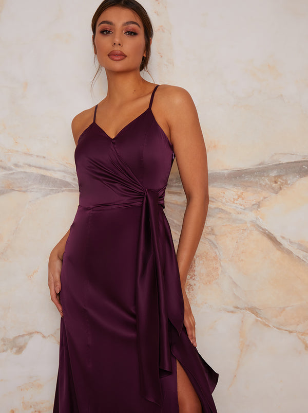 Satin Finish Drape Maxi Dress in Purple