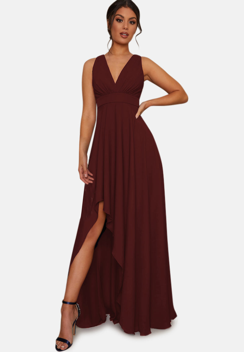 Side Split Maxi Bridesmaid Dress in Navy