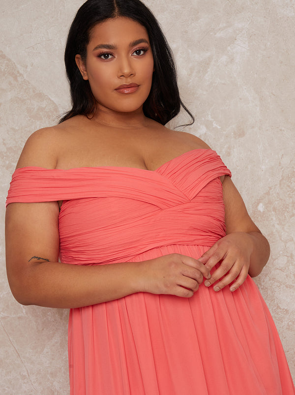 Plus Size Bardot Ruched Bridesmaid Dress in Orange