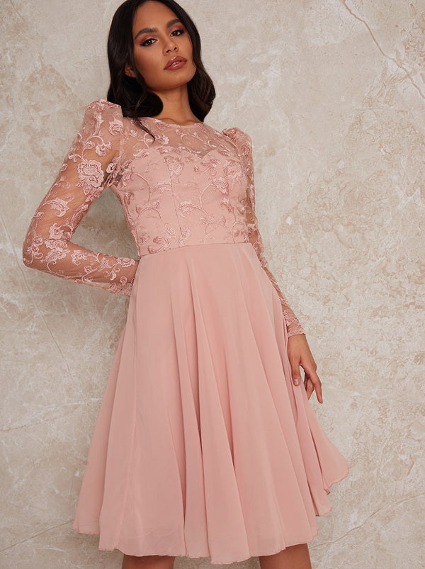 Sheer Long Sleeve Embroidered Skater Dress in Pink