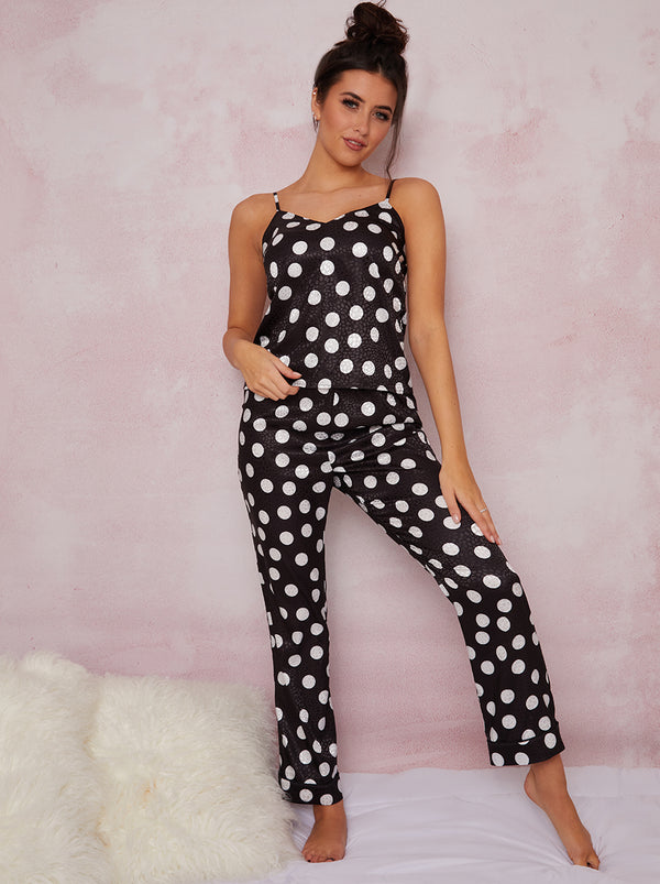 Silky Spot Print Cami Pyjama Set in Black