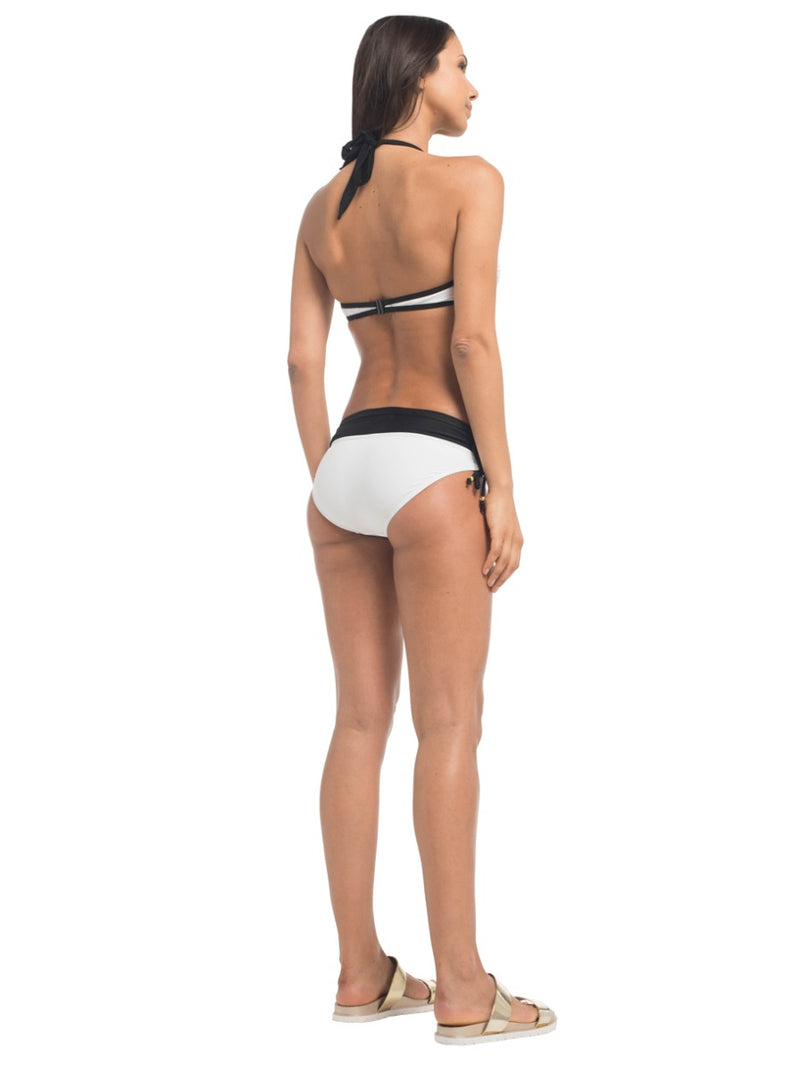 Halterneck Crossover Bikini Top in White