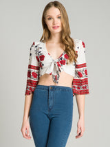 Tie Front Crop Print Top in White
