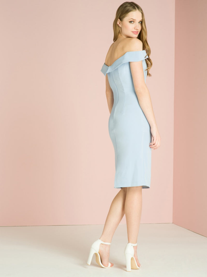 Bardot Bodycon Midi Dress In Blue