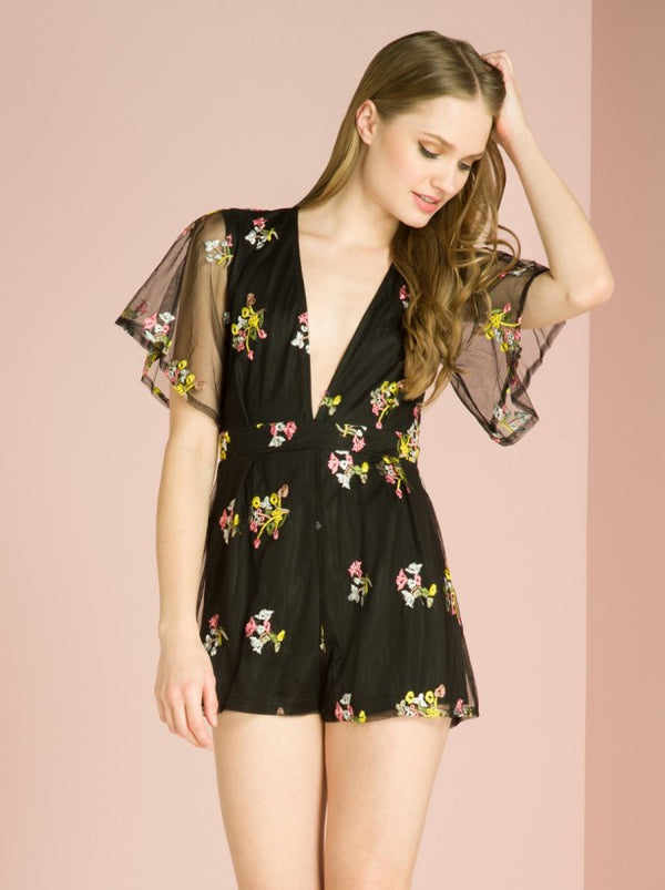 Floral Sheer Back Playsuit in Black