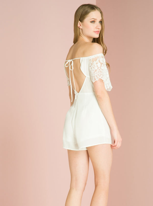 Elasticated Bardot Playsuit with Open Back in White