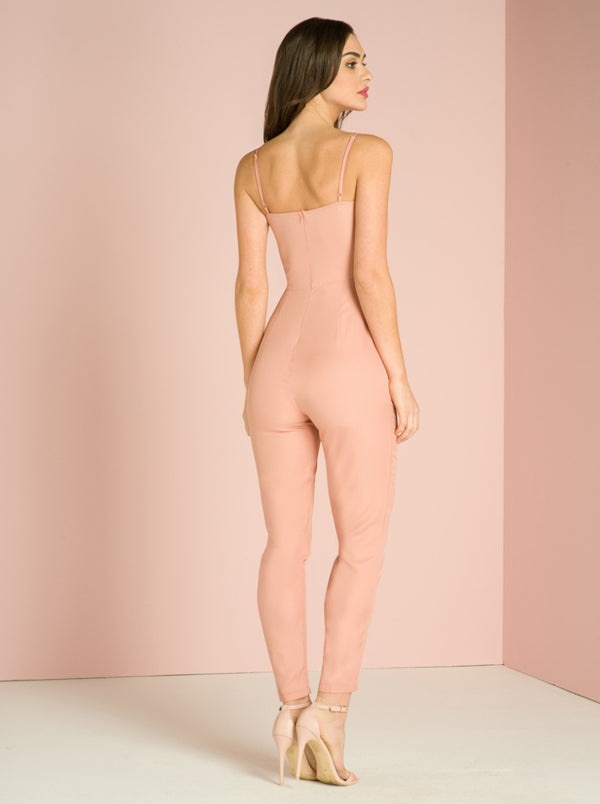 Cami Strap Lace Detail Slim Fit Jumpsuit in Pink