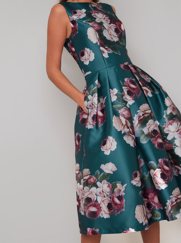 Floral Bold Print Midi Dress In Green