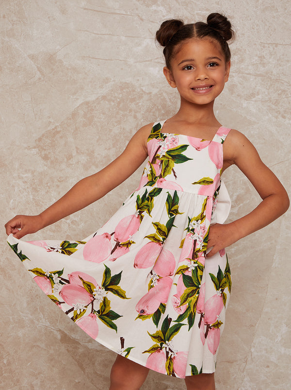 Chi Chi London Girls Fruit Print Midi Dress with Bow Back in White