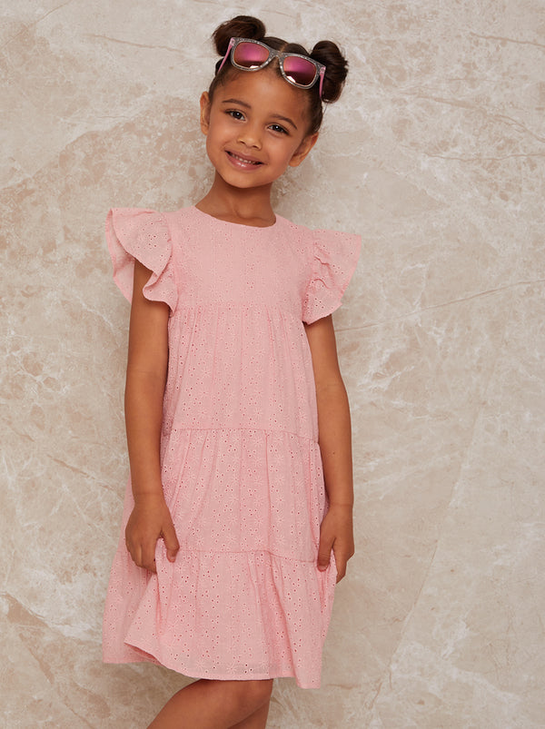 Chi Chi London Girls Tiered Broderie Smock Dress in Pink