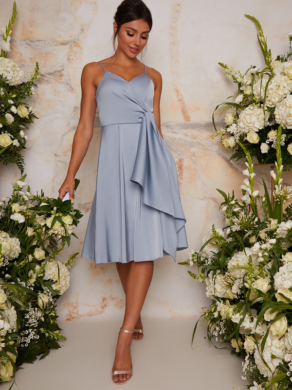 Satin Bridesmaid Cami Wrap Style Midi Dress In Blue