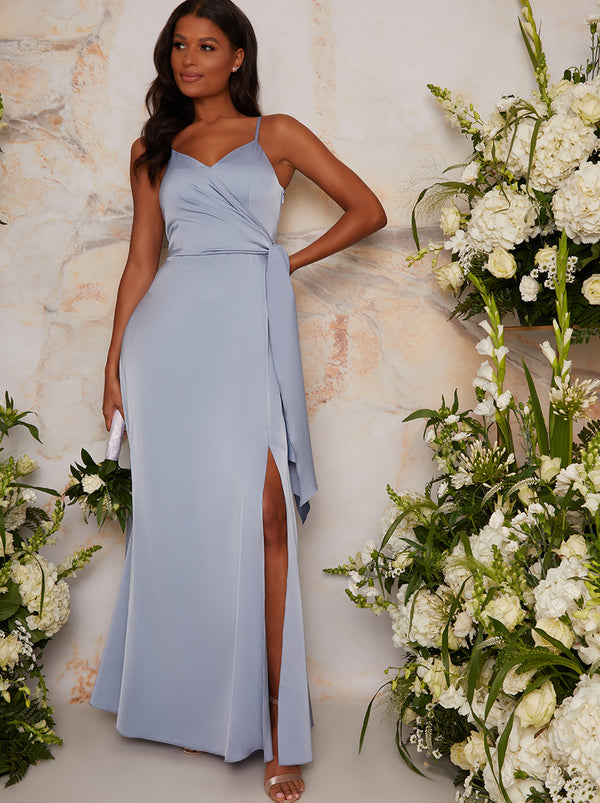Satin Finish Drape Maxi Dress In Blue