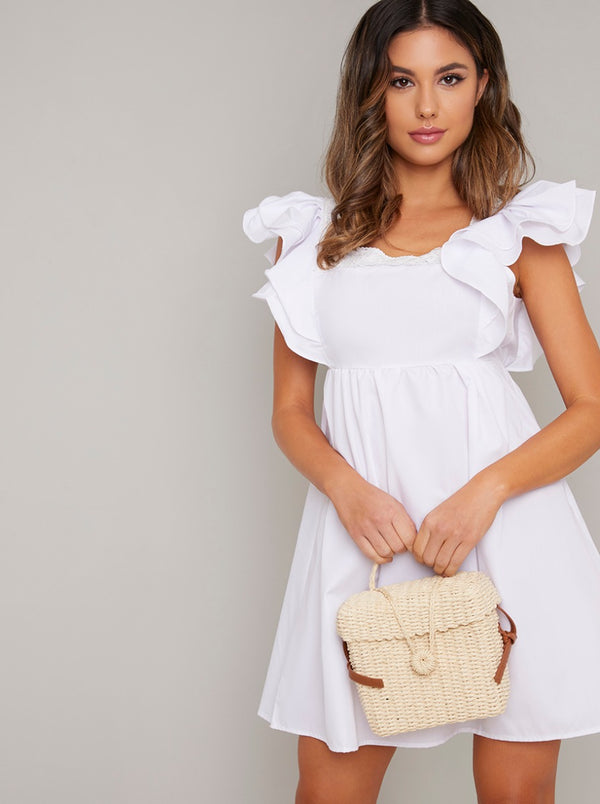 Backless Frill Detail Sun Dress in White