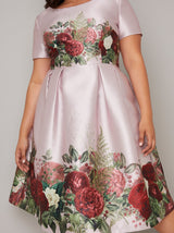 Plus Size Floral Border Midi Dress in Pink
