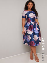 Plus Size Bold Floral Midi Dress in Blue