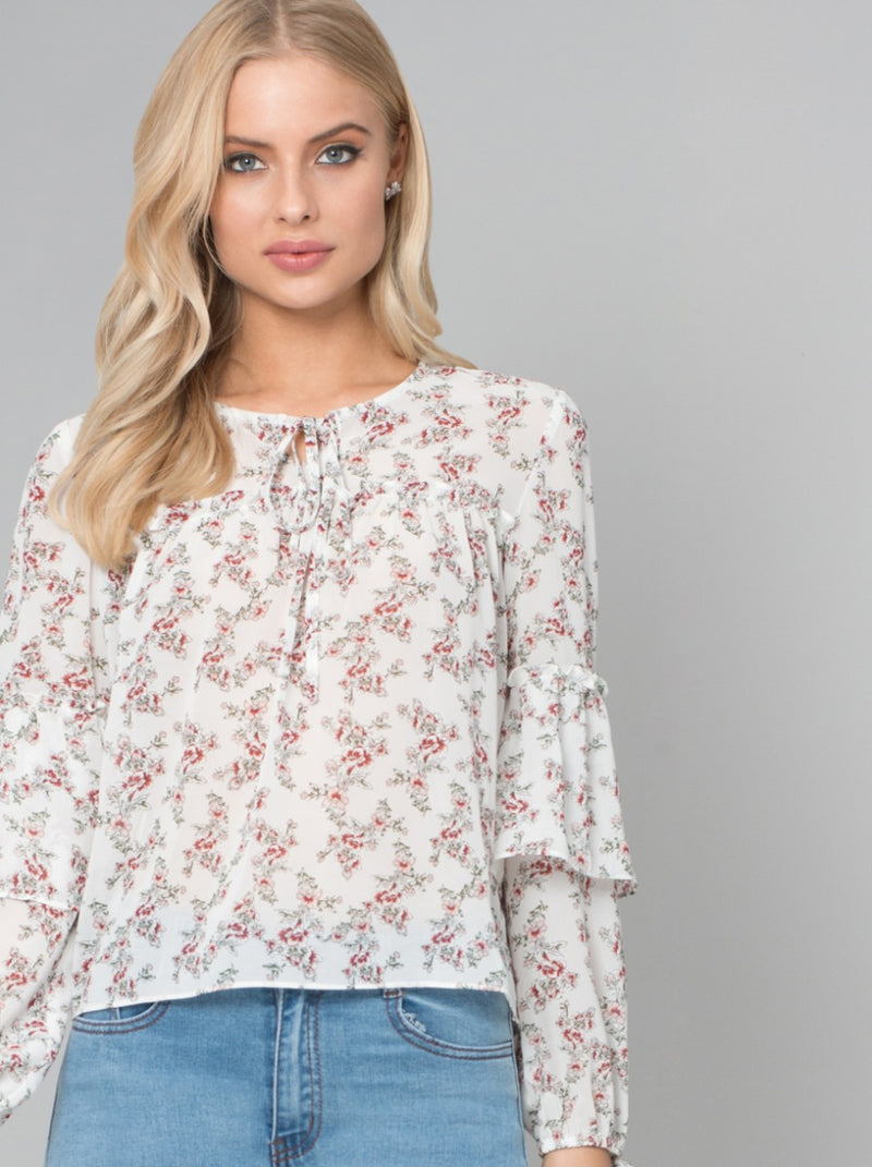 Floral Ditsy Top in White