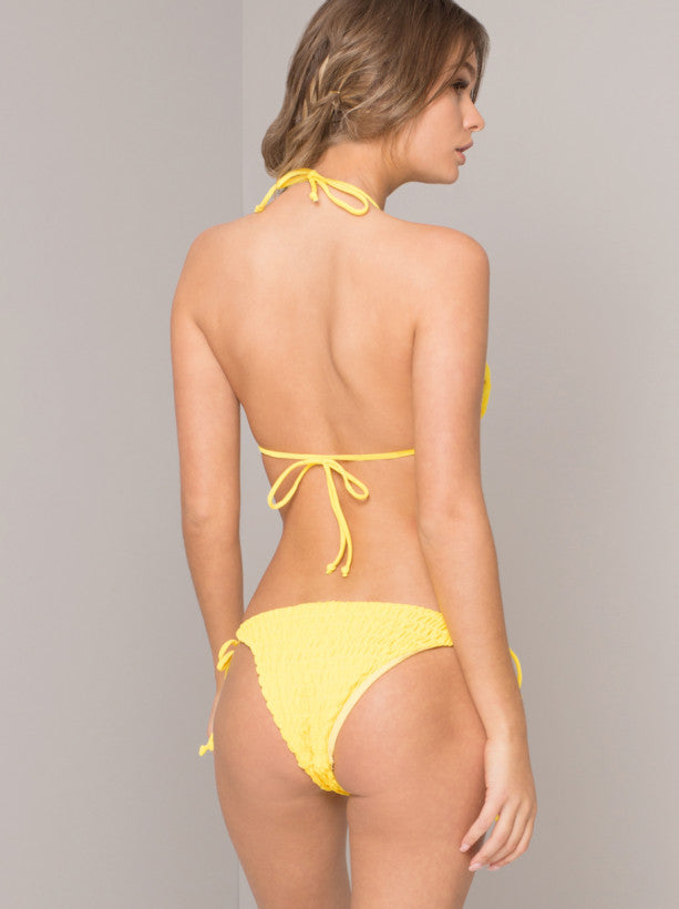 Shirred Bikini Bottoms in Yellow
