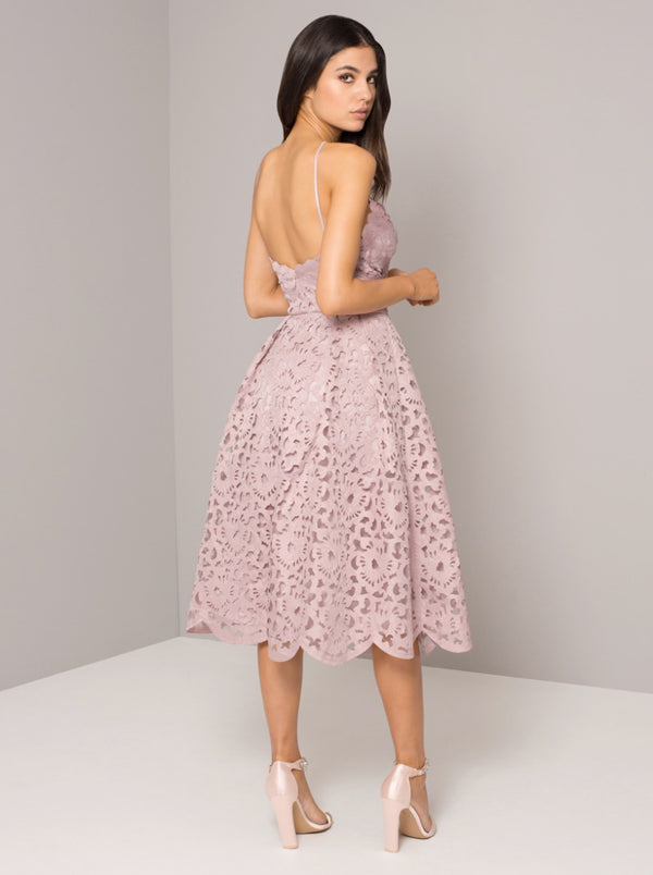 Tall Lace Overlay Scalloped Midi Dress in Mink