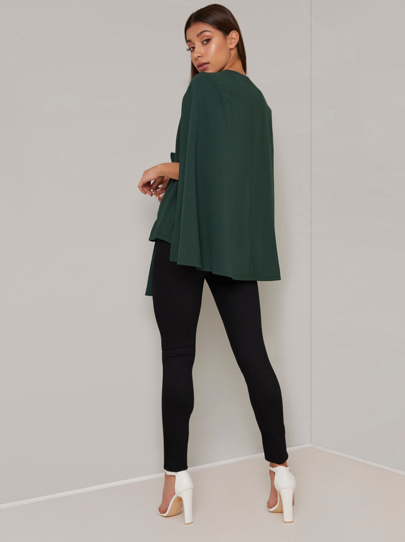 Split Sleeved Wrap Jacket in Green