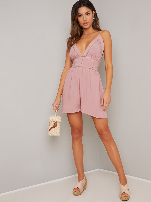 Cami Strap Playsuit in Pink
