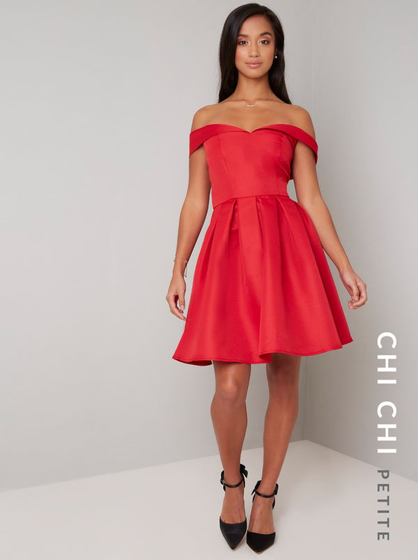 Petite Fold-Over Bardot Mini Dress in Red