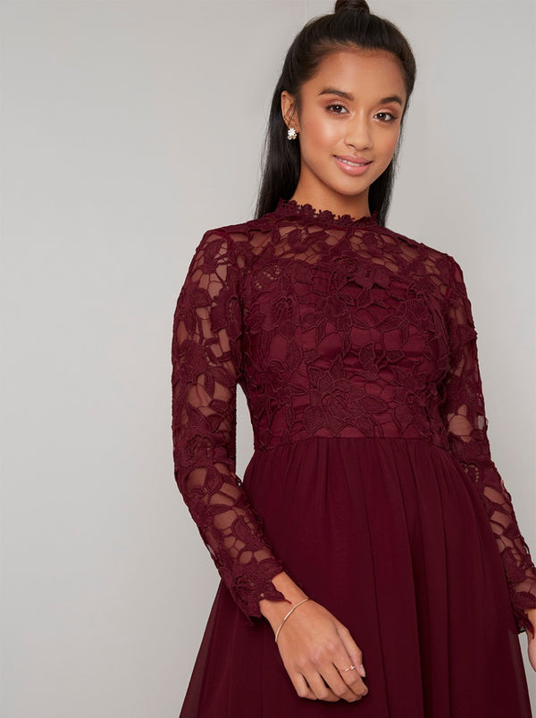Petite Long Sleeved Lace Midi Dress in Red