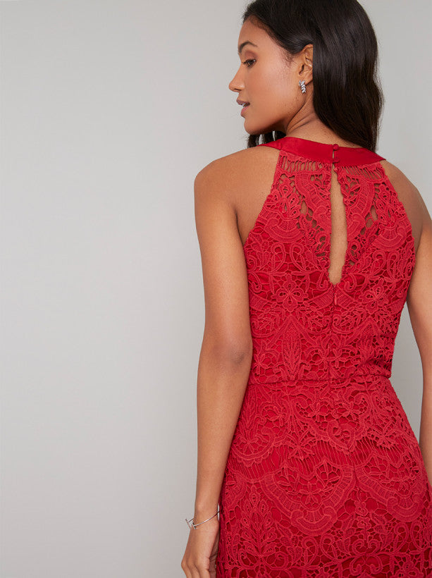 Crochet Bodycon Dress with Tassel Detais in Red