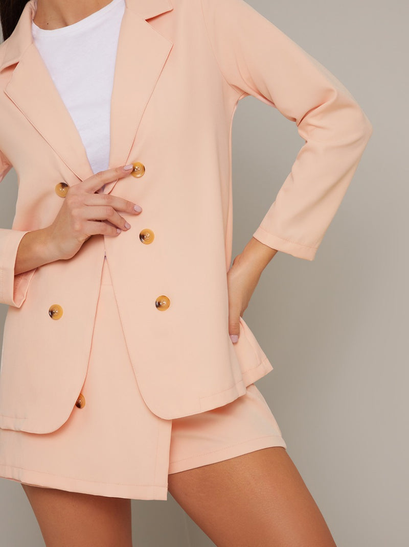 Relaxed Fit Button Detail Blazer in Pink