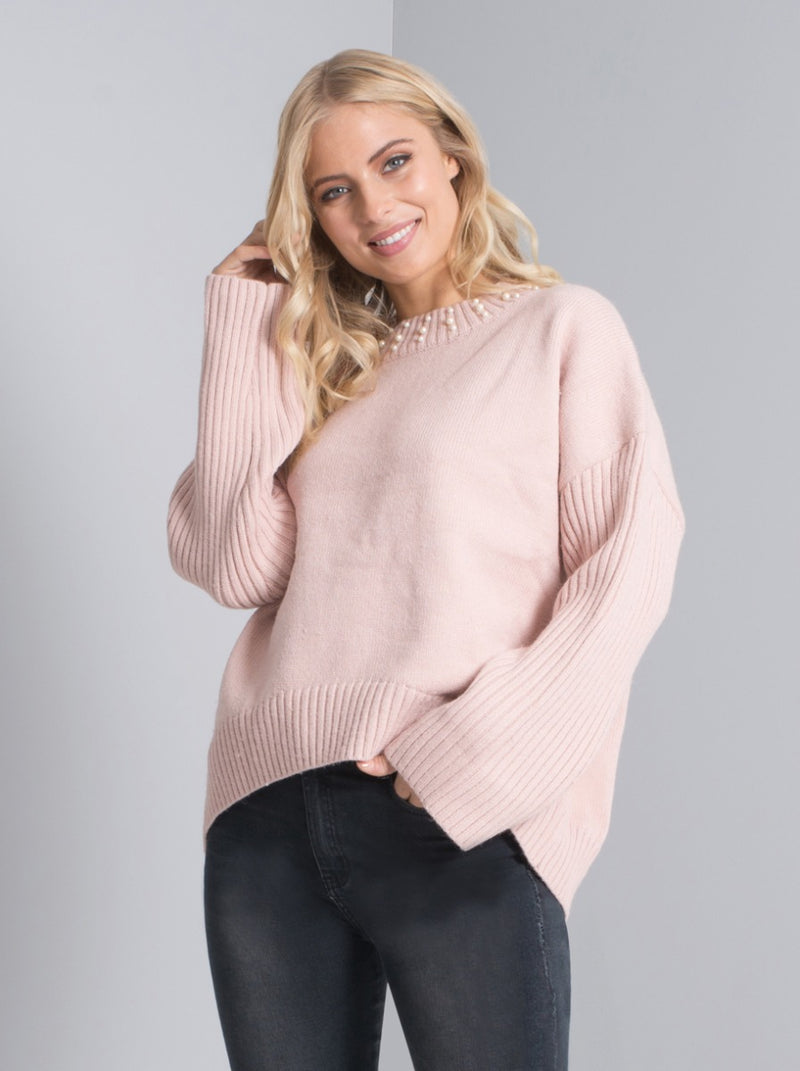 Pearl Embellished Knitted Jumper in Pink