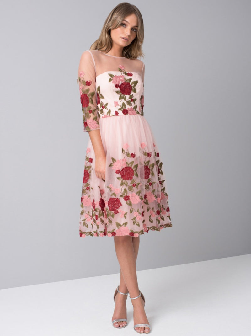 Floral Embroidered Sheer Sleeved Midi Dress in Pink