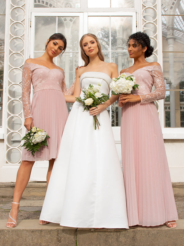 Lace Bridesmaid Maxi Dress With Long Sleeves In Pink