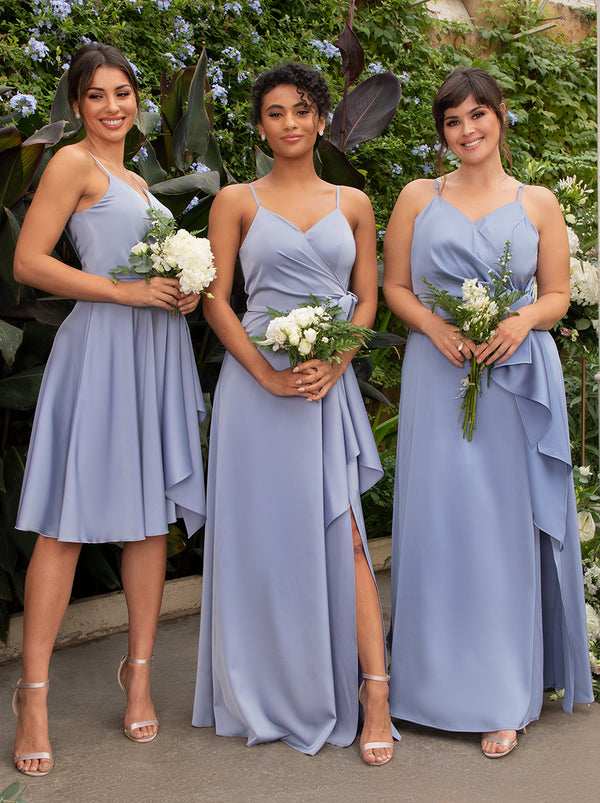 Satin Bridesmaid Wrap Style Maxi Dress In Blue