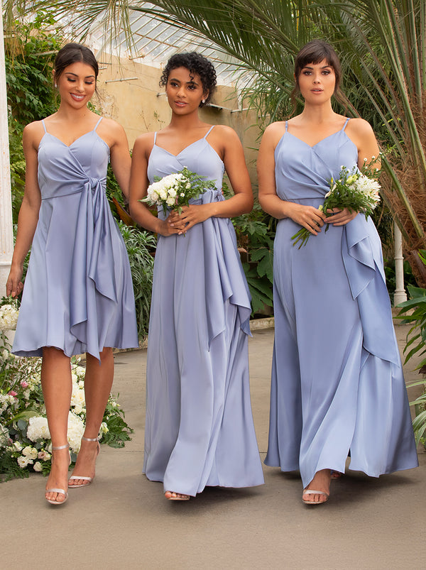 Curve Satin Bridesmaid Cami Wrap Style Midi Dress In Blue