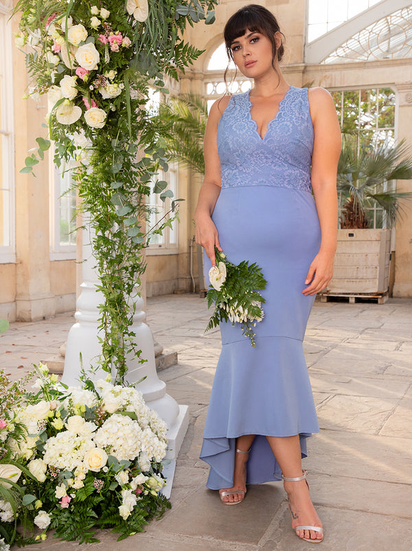 Plus Size Lace Bodycon Bridesmaid Dress With Peplum Hem In Blue