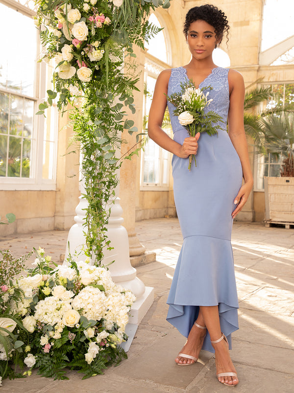 Lace Bodycon Bridesmaid Dress With Peplum Hem In Blue