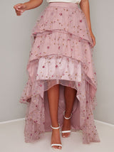 Lace Embroidered Tiered Dip Hem Maxi Skirt in Pink