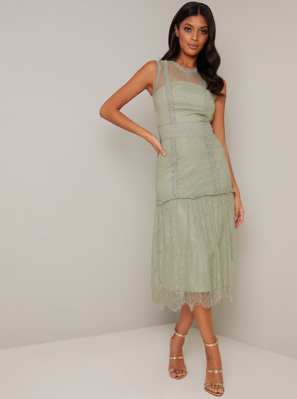Vintage Look Lace Panelled Midi Dress in Green