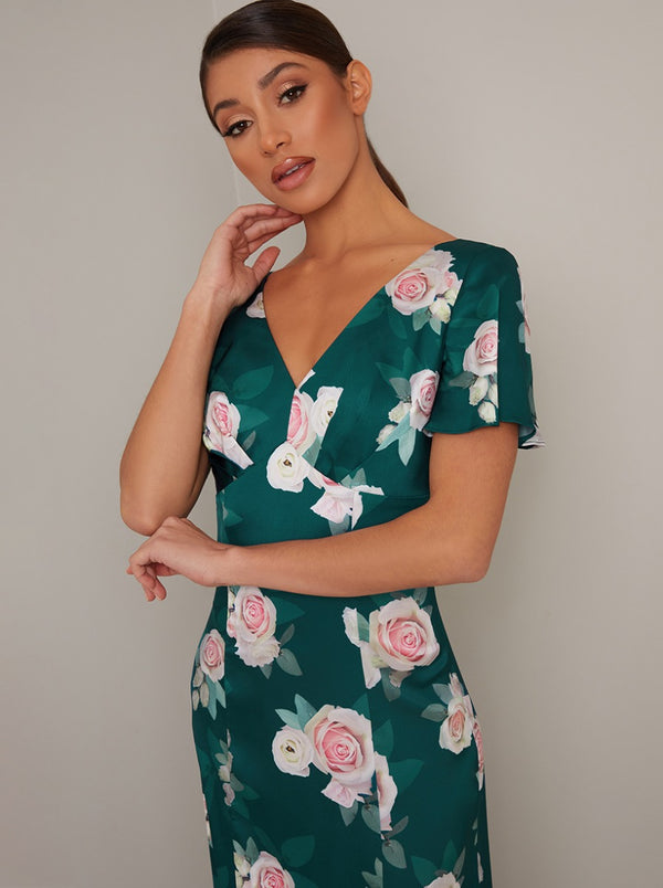 Floral Print V Neck Maxi Dress in Green